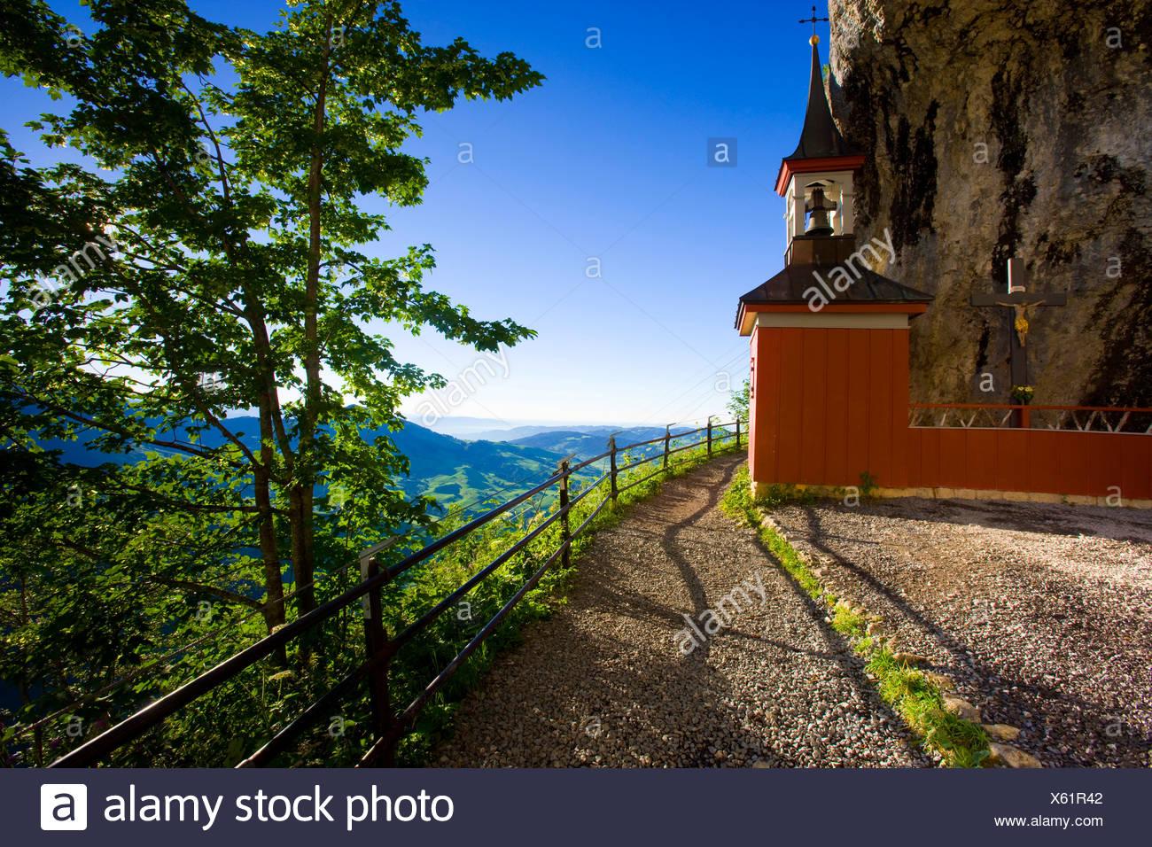 Wildkirchli, Switzerland, Europe, canton Appenzell, Innerrhoden., Alpstein, view point, cave, way, chapel, morning light - Stock Image