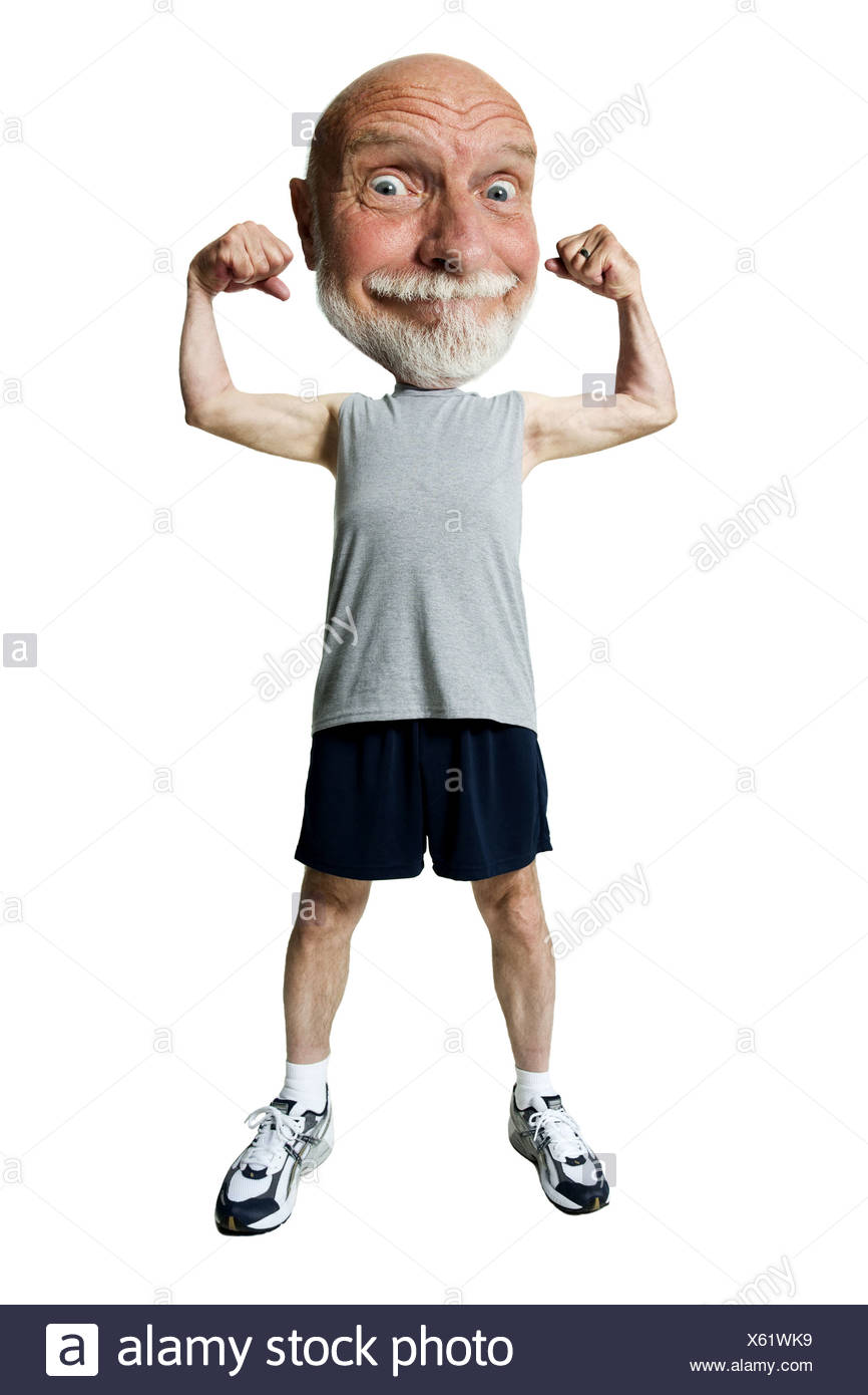 Caricature of a senior man flexing his muscles - Stock Image