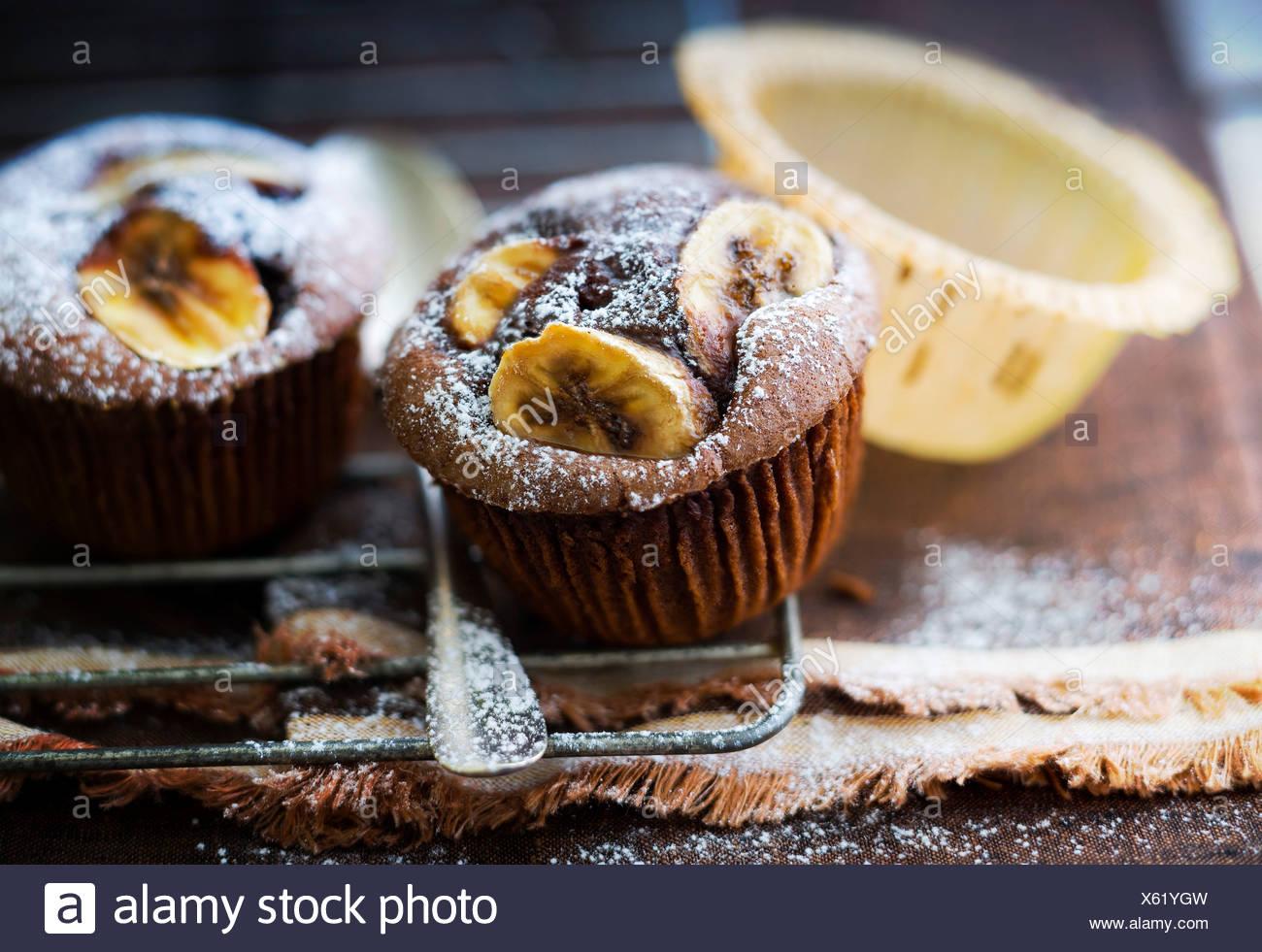 Banana and chocolate muffins - Stock Image