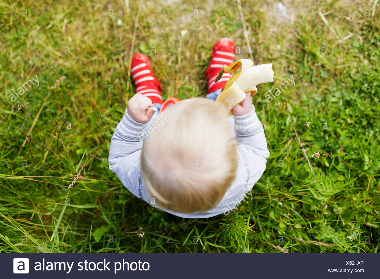 Directly above shot of baby boy holding banana on grassy field Stock Photo