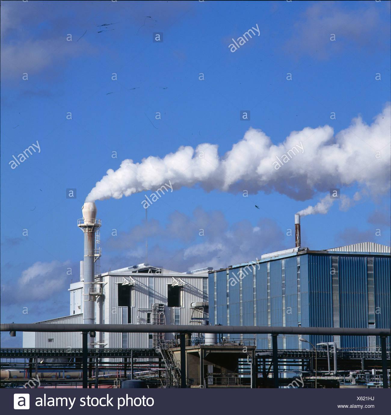 Smoke emitting from smokestacks, Calais, France Stock Photo