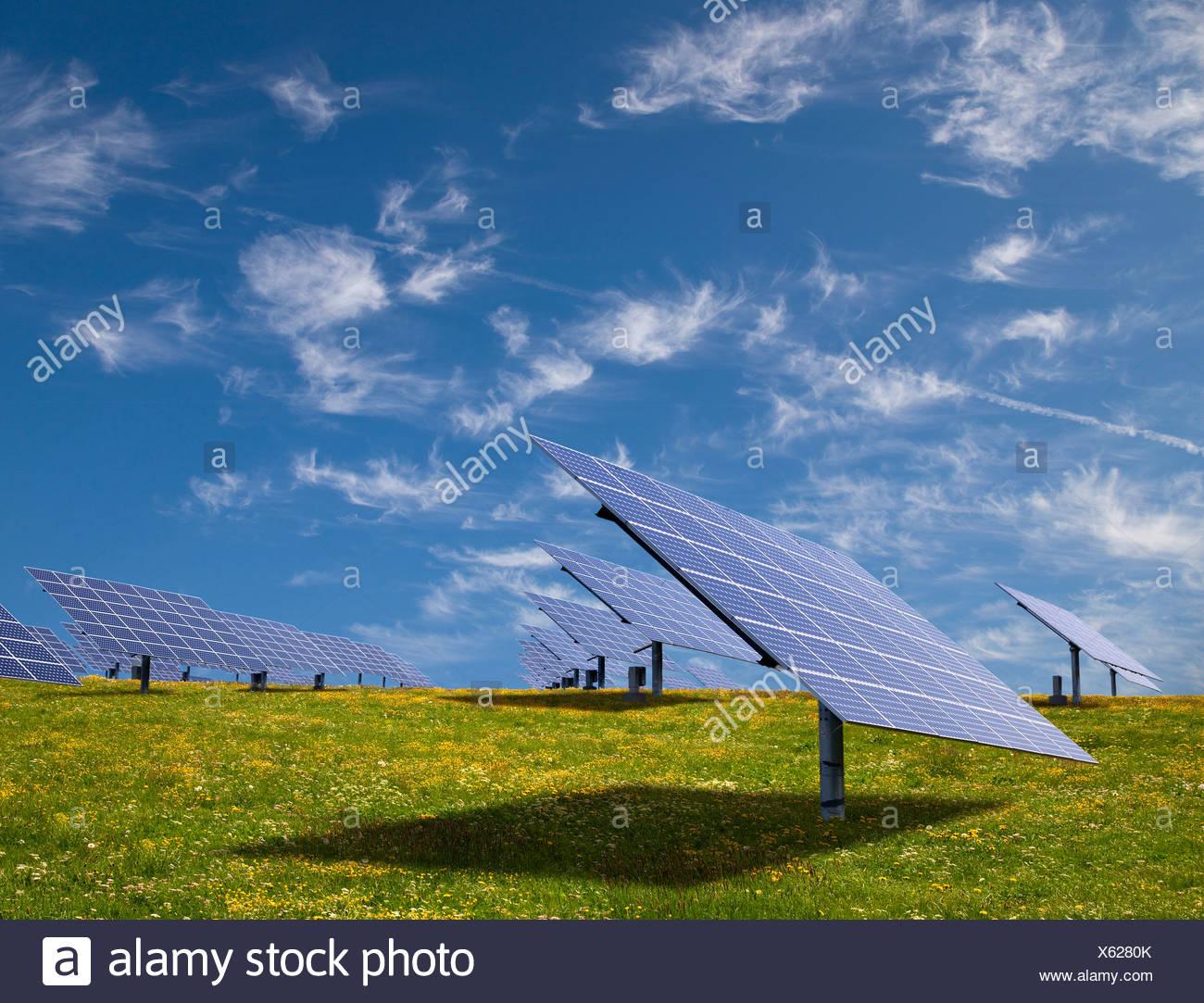 Solar panels in field - Stock Image