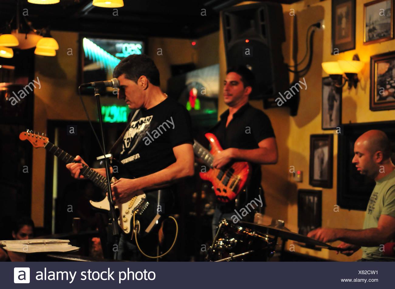 Israel, Haifa, Live show at a local pub - Stock Image