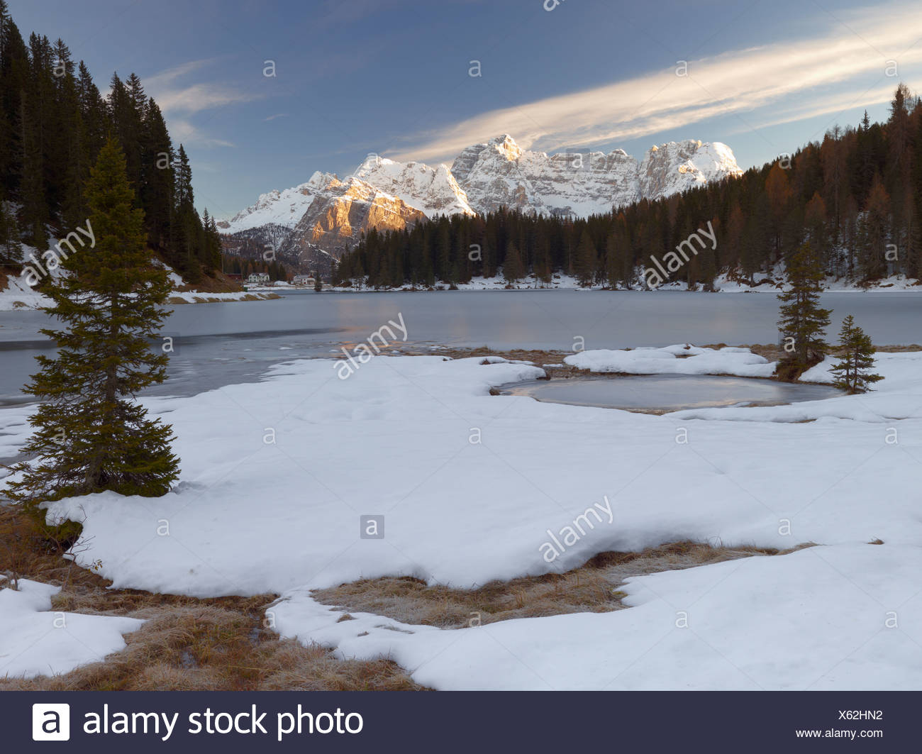 Lago Misurina, Misurina Lake at Sunrise, Belluno, Italy, Europe - Stock Image