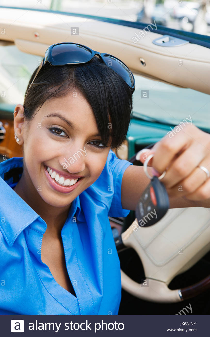 Young Woman Holding Car Keys - Stock Image
