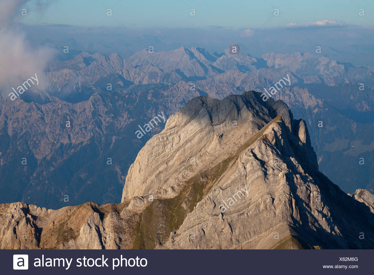 Evening mod in the Alpstein range with views of Mt Altmann from Mt Saentis, Switzerland, Europe - Stock Image