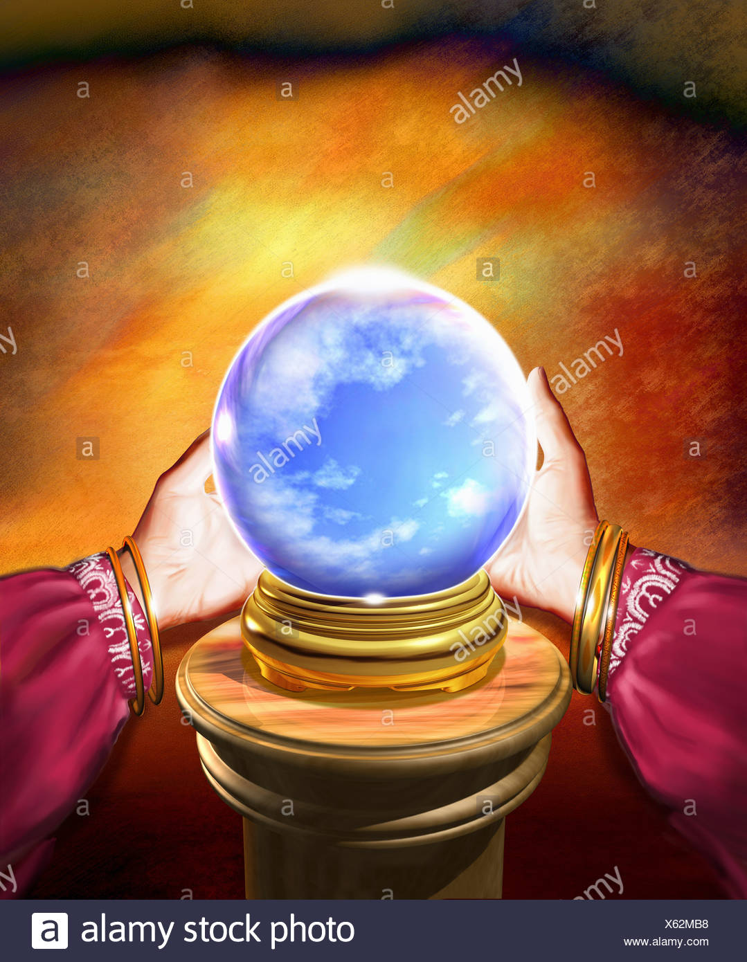 Hands of fortune teller holding crystal ball with blue sky inside Stock Photo