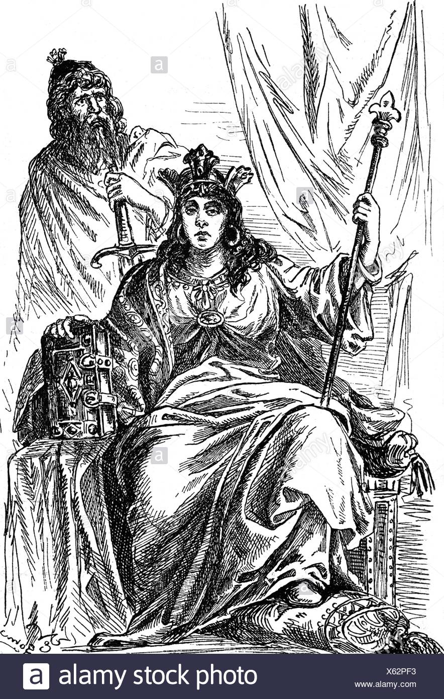 Judith, 925 - 29.6. past 985, Duchess of Bavaria 948 - 955, full length, wood engraving, 19th century, , Additional-Rights-Clearances-NA - Stock Image