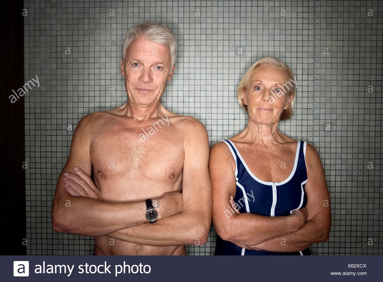 Senior couple in changing room Stock Photo