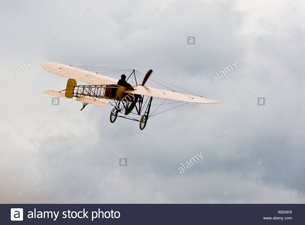 Bleriot XI 'La Manche', Europe's big vintage aeroplane meeting on the Hahnweide, Kirchheim-Teck, Baden Wuerttemberg, Germany - Stock Image