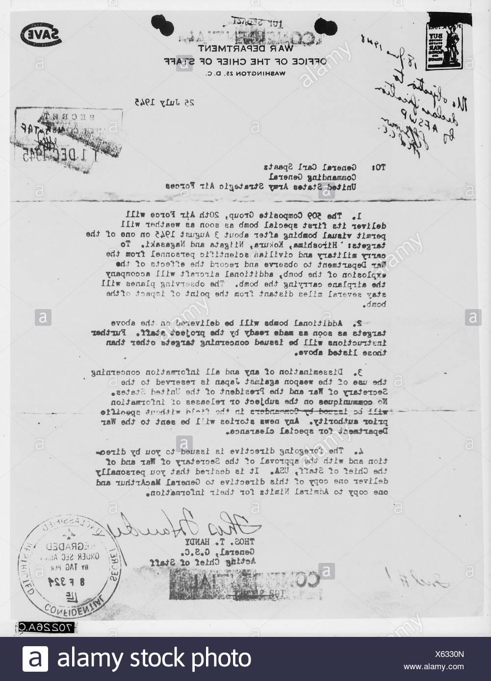 Atomic Bomb – Memorandum1945 - Stock Image