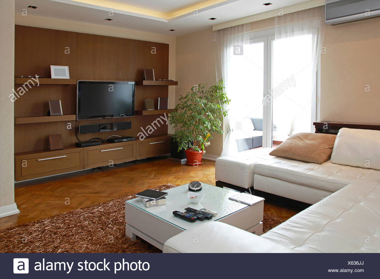 Living Room With Big Lcd Tv Shelf In Contemporary Apartment Stock Photo Alamy