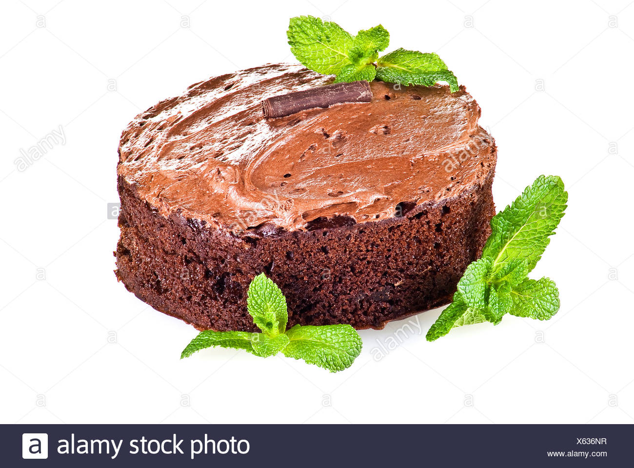 Dark brown chocolate cake and mint leaves over white background Stock Photo