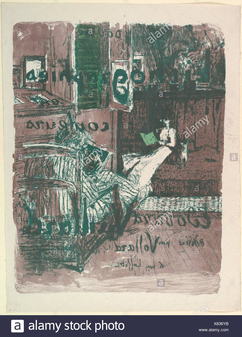 Cover for the album Landscapes and Interiors (Vollard Portfolio). Artist: Édouard Vuillard (French, Cuiseaux 1868-1940 La Baule); Printer: Printed by - Stock Image