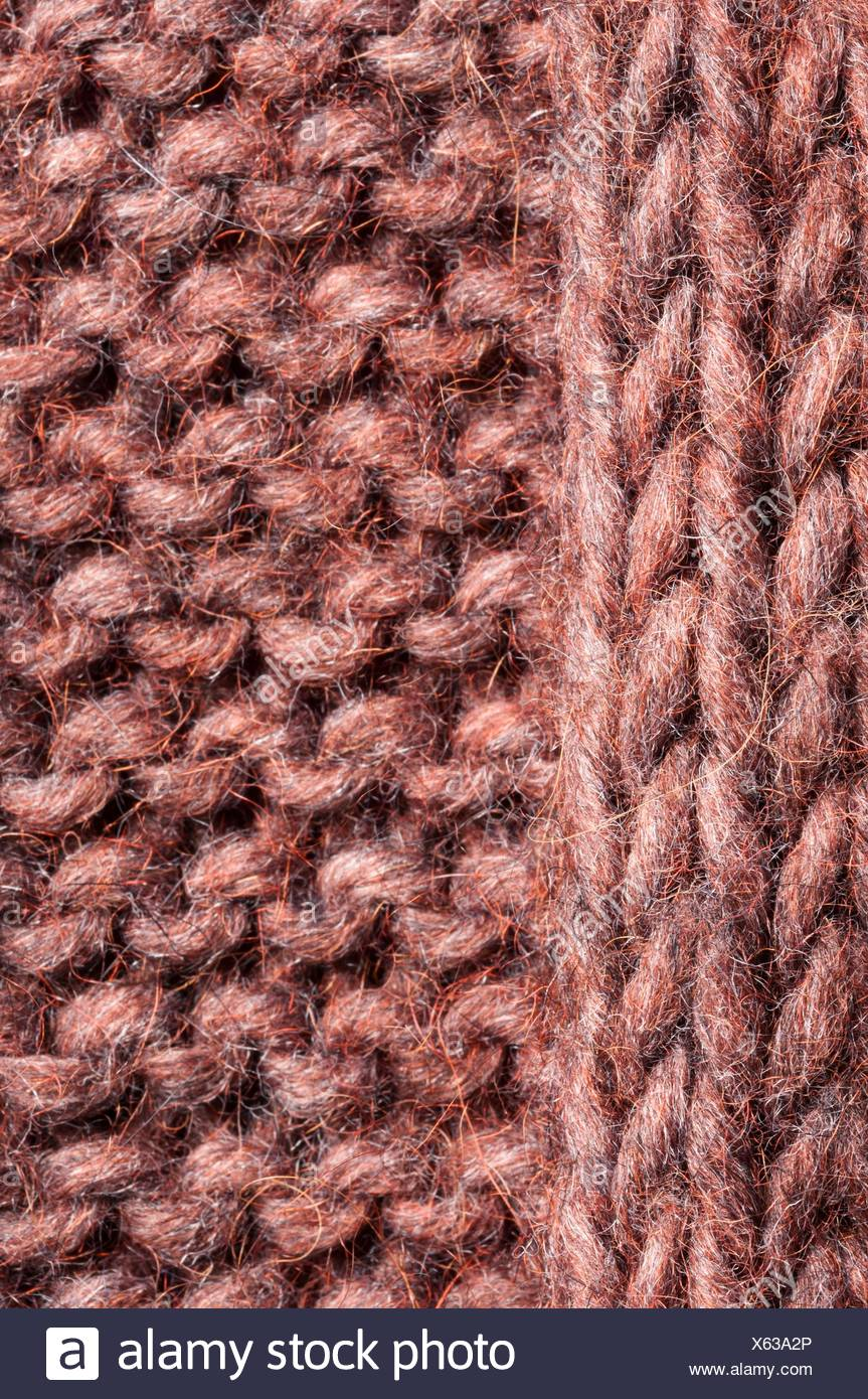 d526d100570 plain and purl knitting stitches - Stock Image