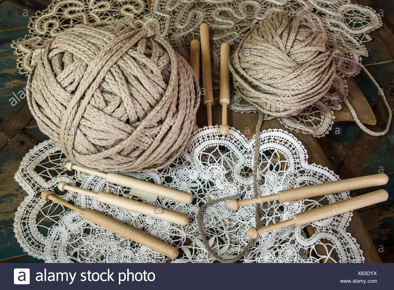 Lace with a ball of yarn - Stock Image