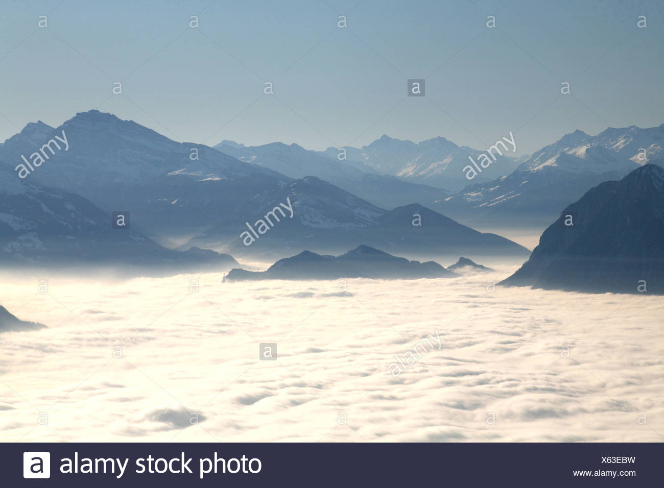 View onto the sea of fog in the Rhine river valley, East Swiss Mountains from the Hoher Kasten mountain - Stock Image