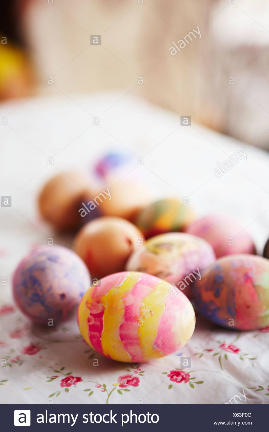 Painted eggs for eastern, close-up. - Stock Image