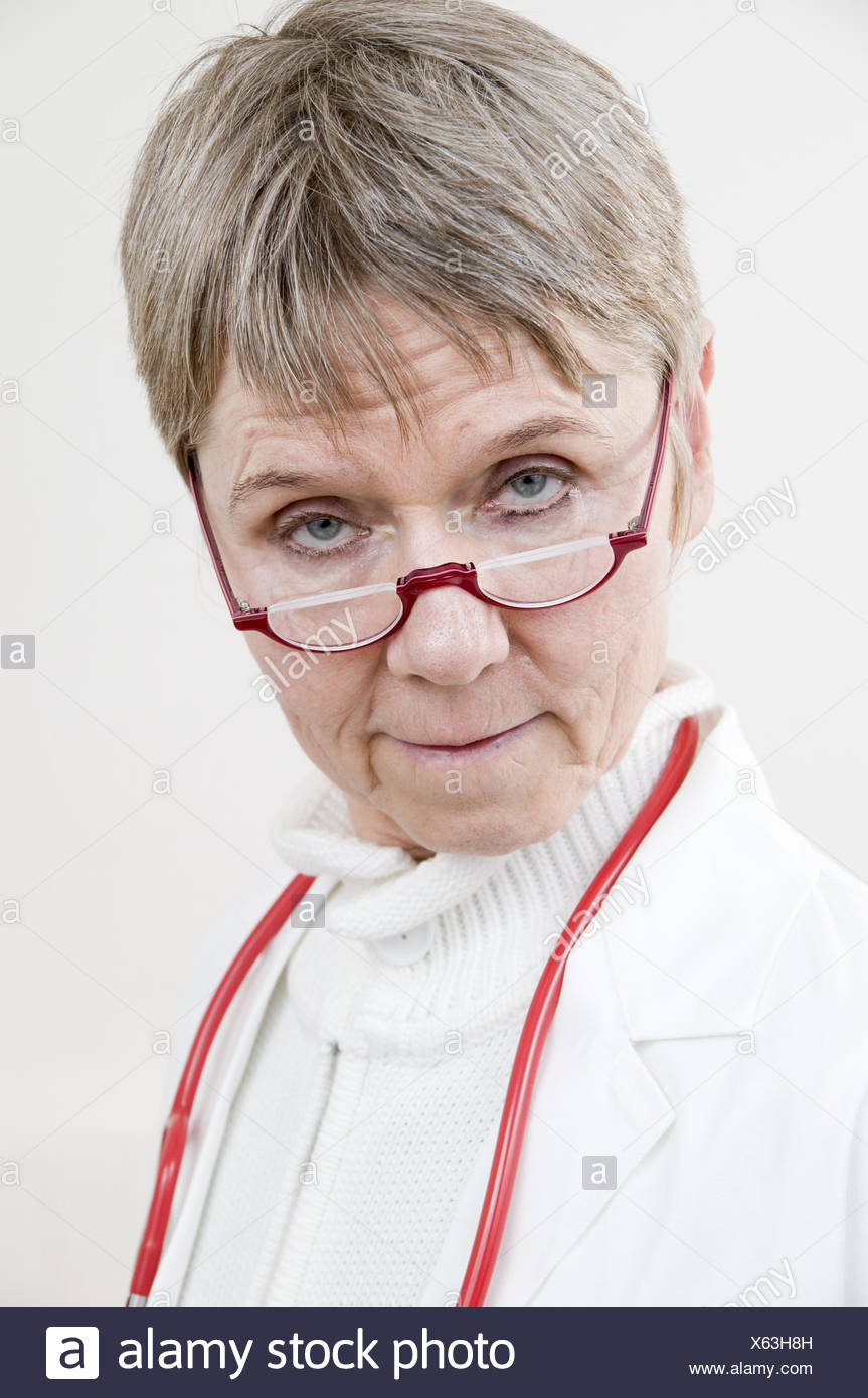 portrait of doctor sceptical - Stock Image