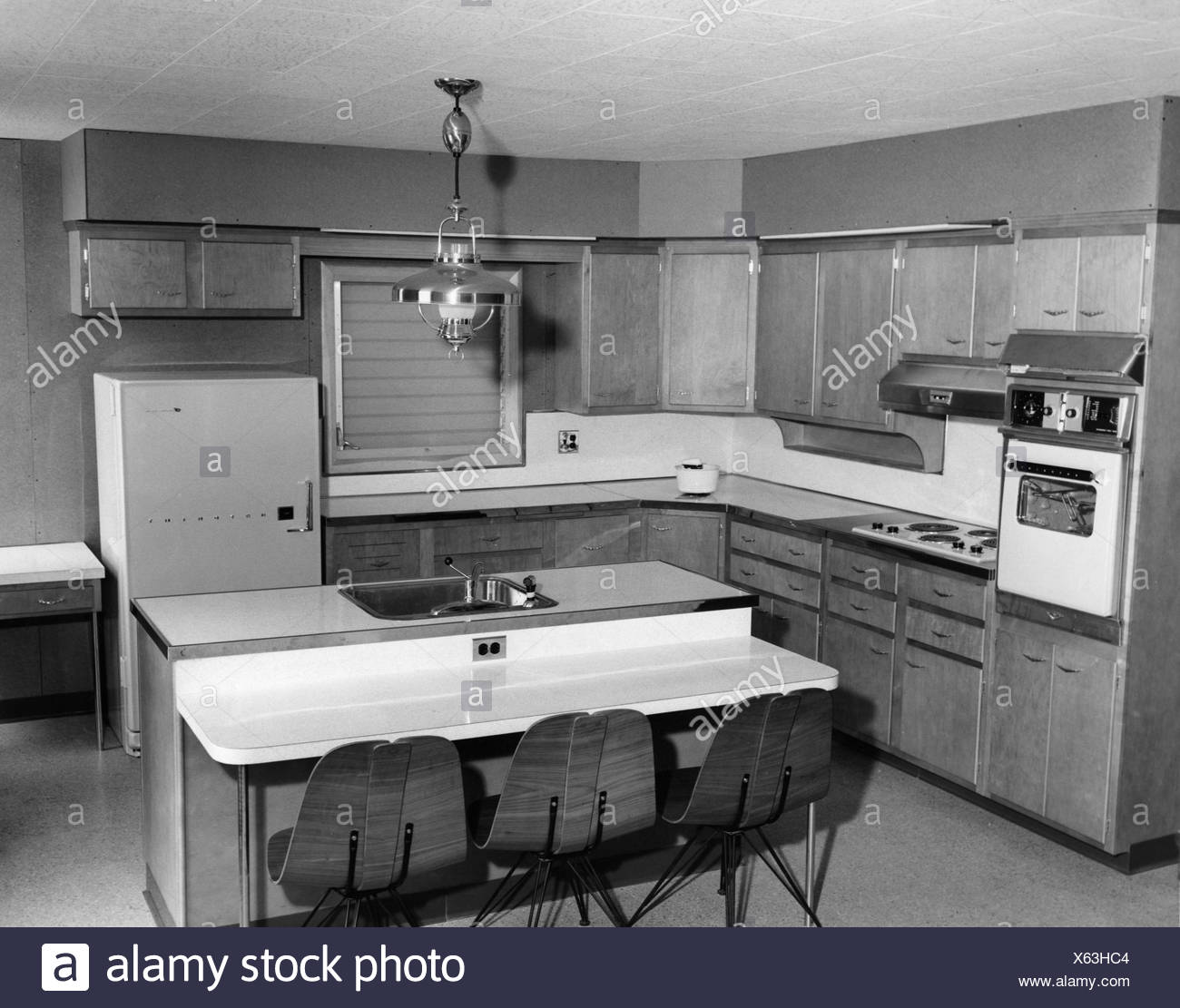 Interior of kitchen in 1950s style stock image