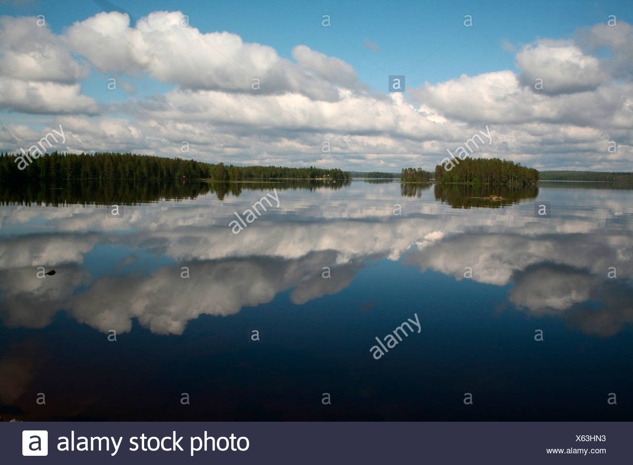 Lake landscape, Lapland, Finland, Europe Stock Photo