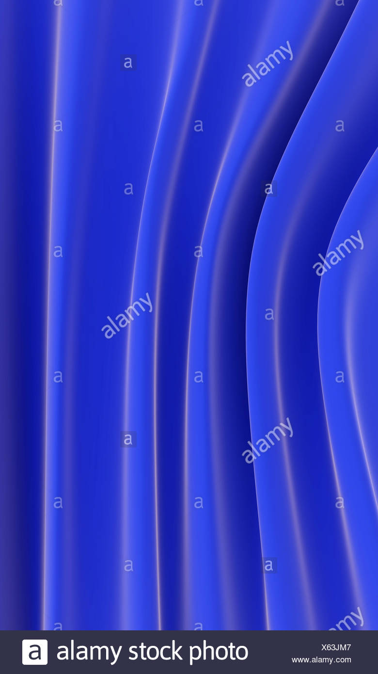 waves from blue gentle silk - Stock Image