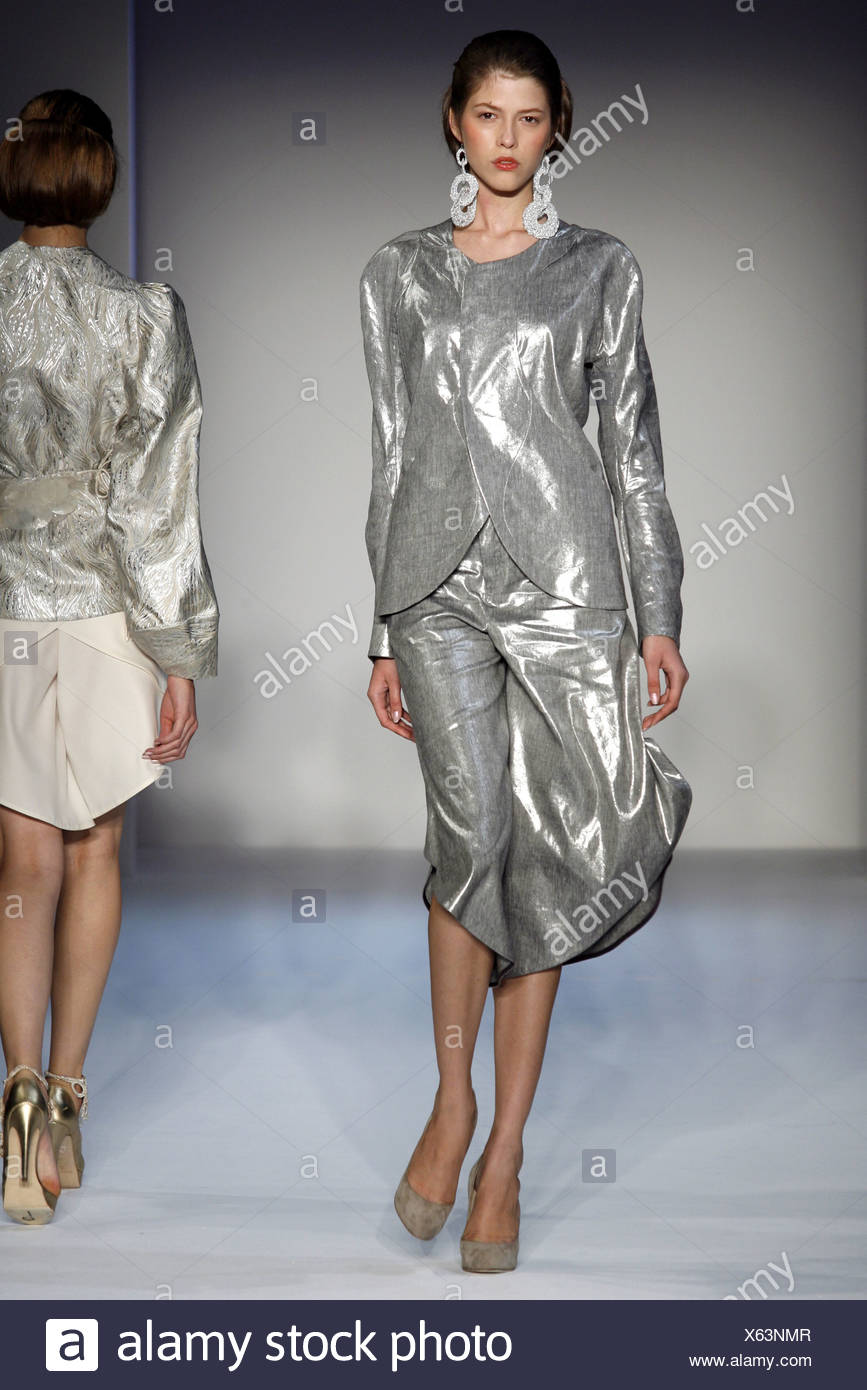 62ef9d3fb ThreeasFour New York Ready to Wear Spring Summer Metallic silver culotte  and matching jacket, with