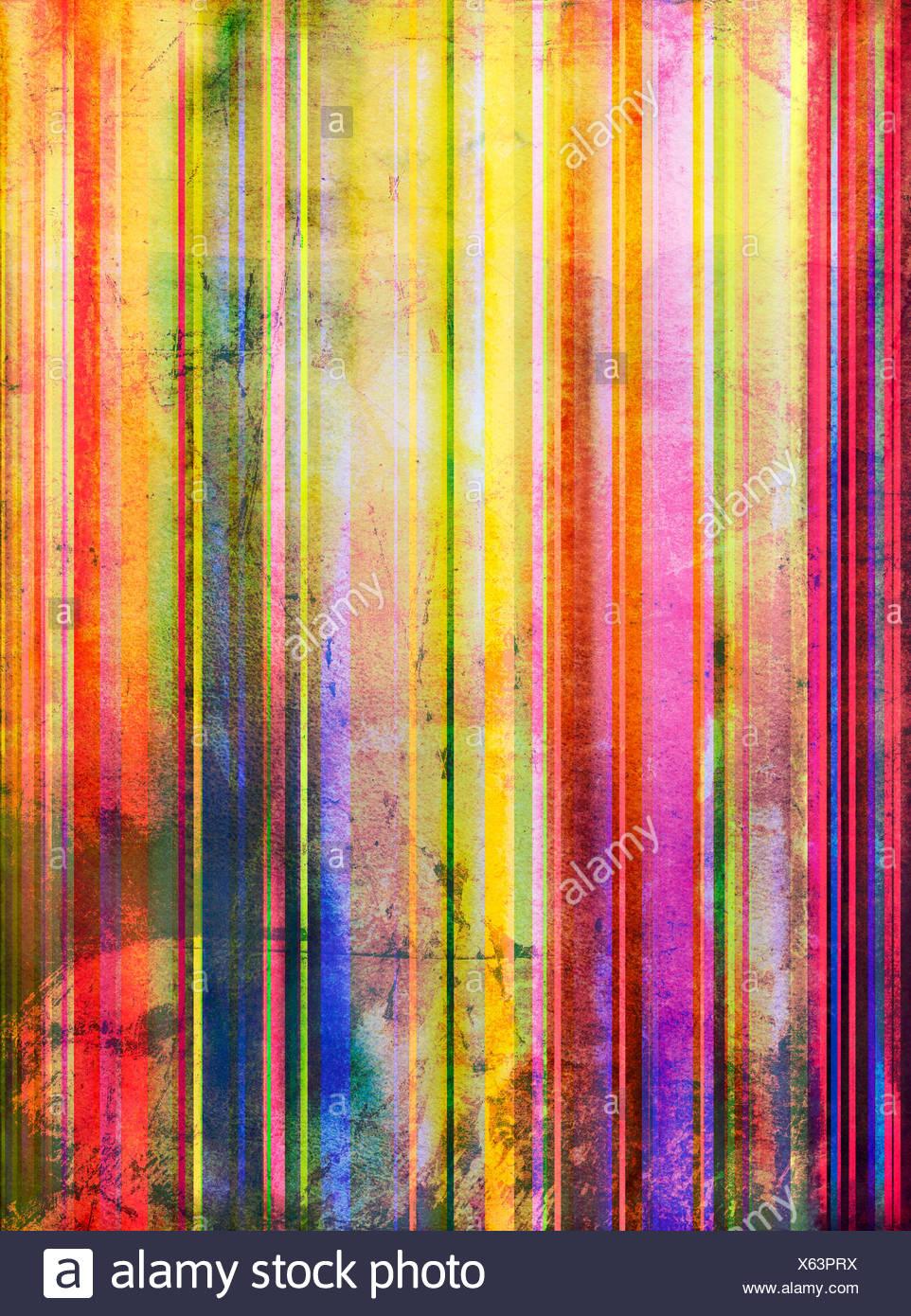 aquarell abstrakt muster alt streifen - Stock Image