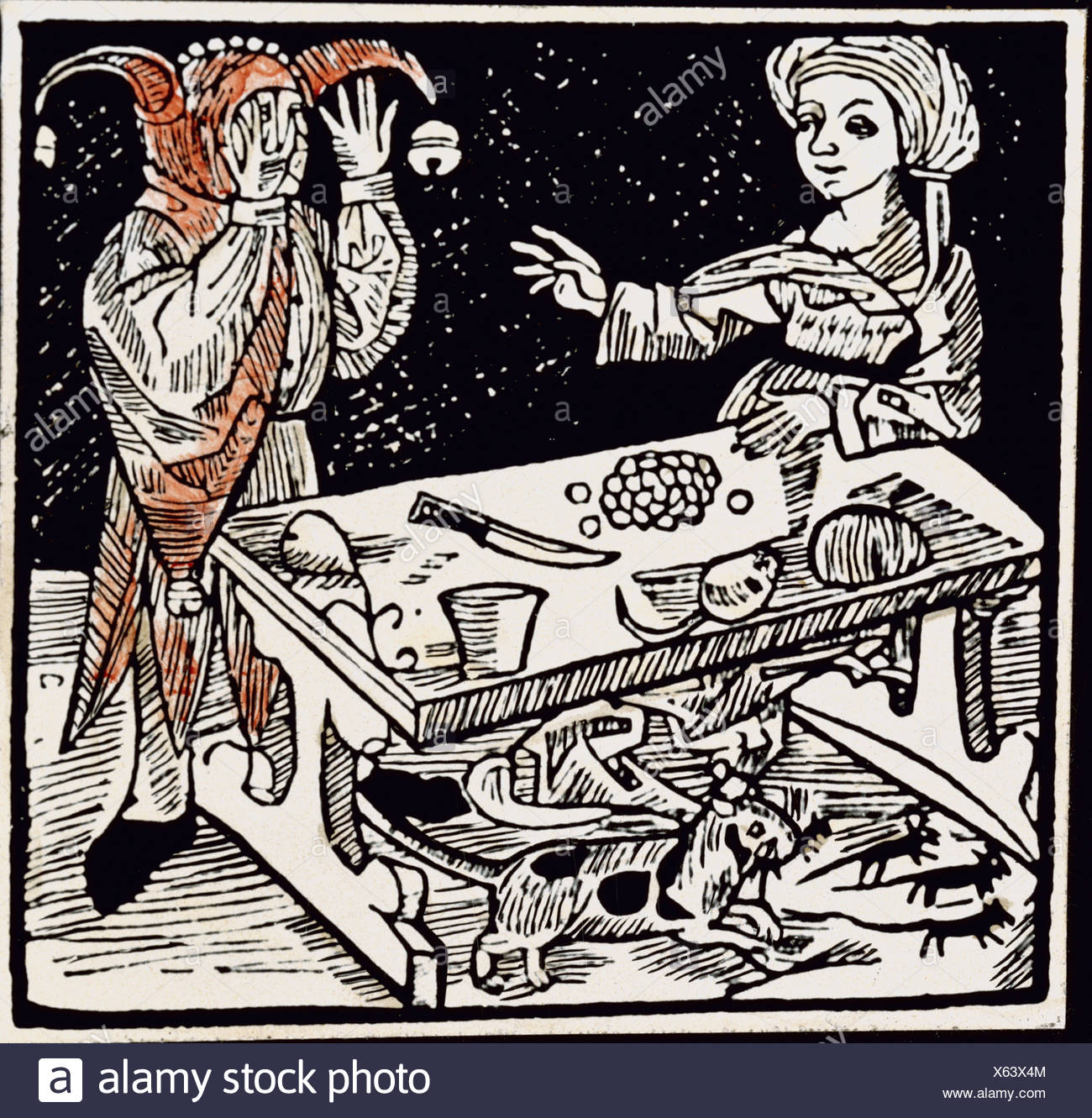 Brant, Sebastian, 1457/1458 - 10.5.1521, German humanist and author/writer, works, 'Ship of Fools', figure, 'of adultery', coloured woodcut, printed by Hans van Gethelen, Lübeck, 1497, private collection, , Additional-Rights-Clearances-NA - Stock Image