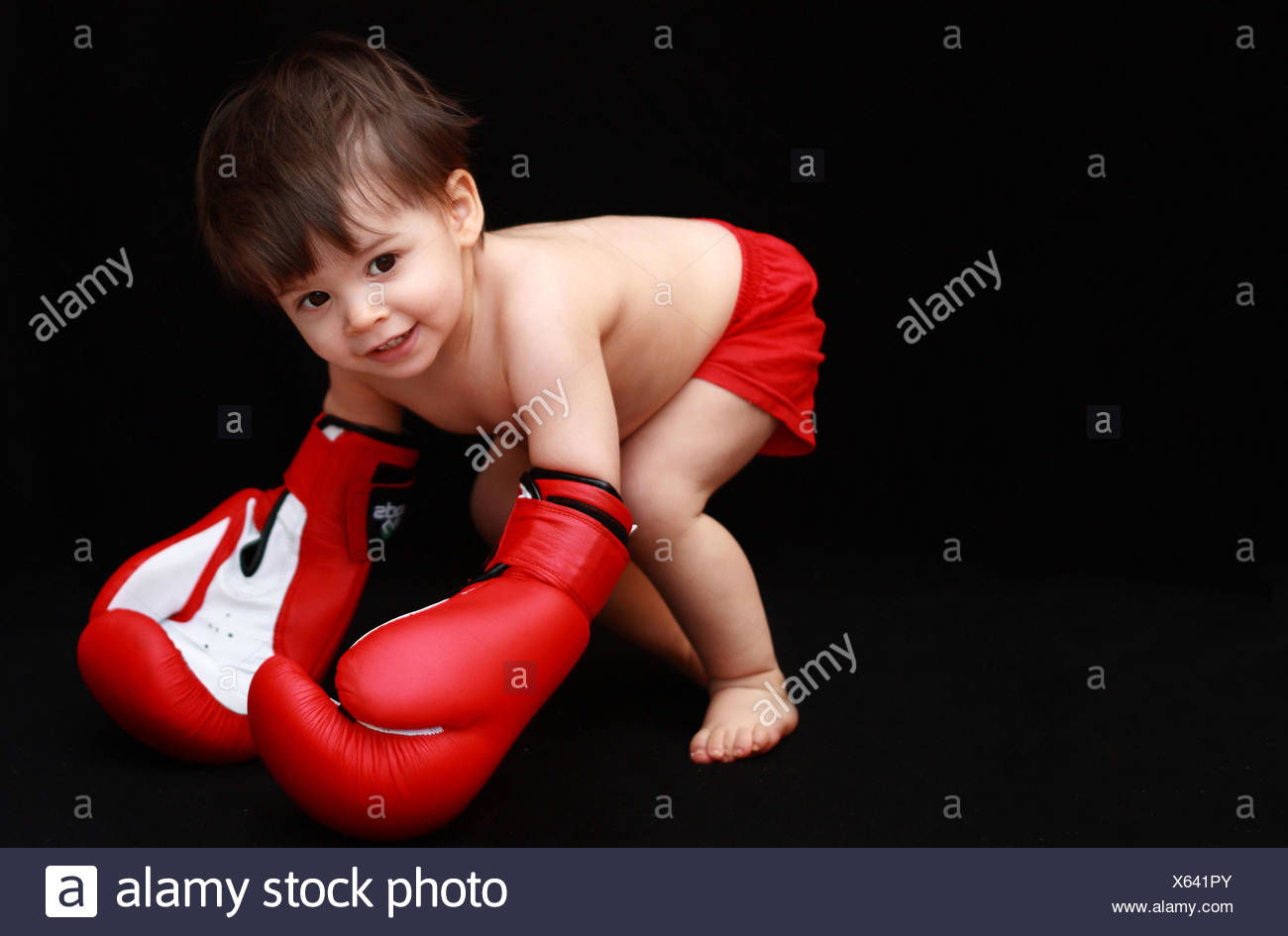 Baby boy (18-23 months) with boxing gloves - Stock Image
