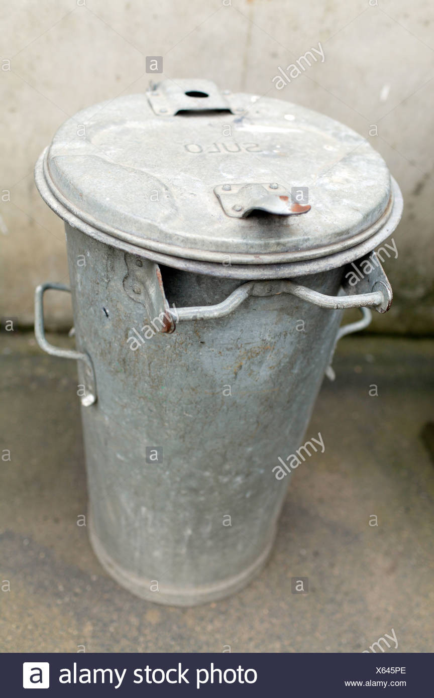 Brockscheid, Germany, a trash can made of galvanized sheet - Stock Image