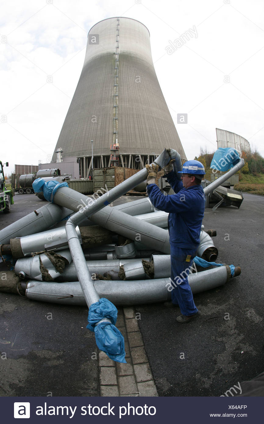 Works during the abridgement of the nuclear reactor in Muehlheim-Kaerlich, Rhineland-Palatinate, Germany - Stock Image