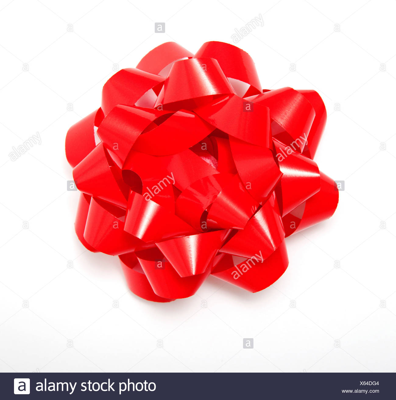 Red gift bow - Stock Image