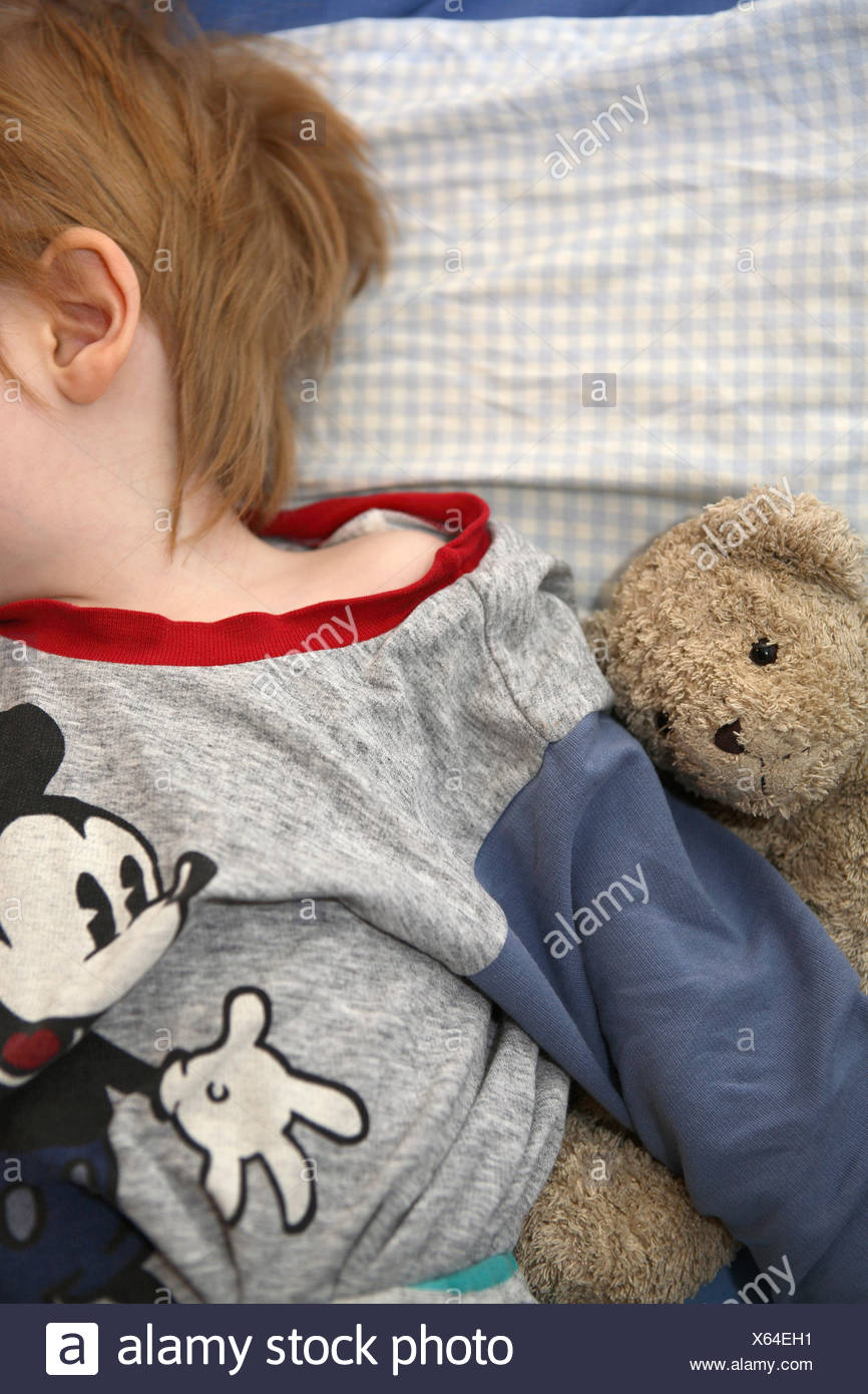 A sleeping boy holding a teddy bear, Sweden Stock Photo