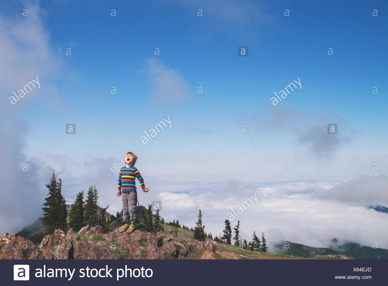Boy standing on top of a mountain shouting - Stock Image
