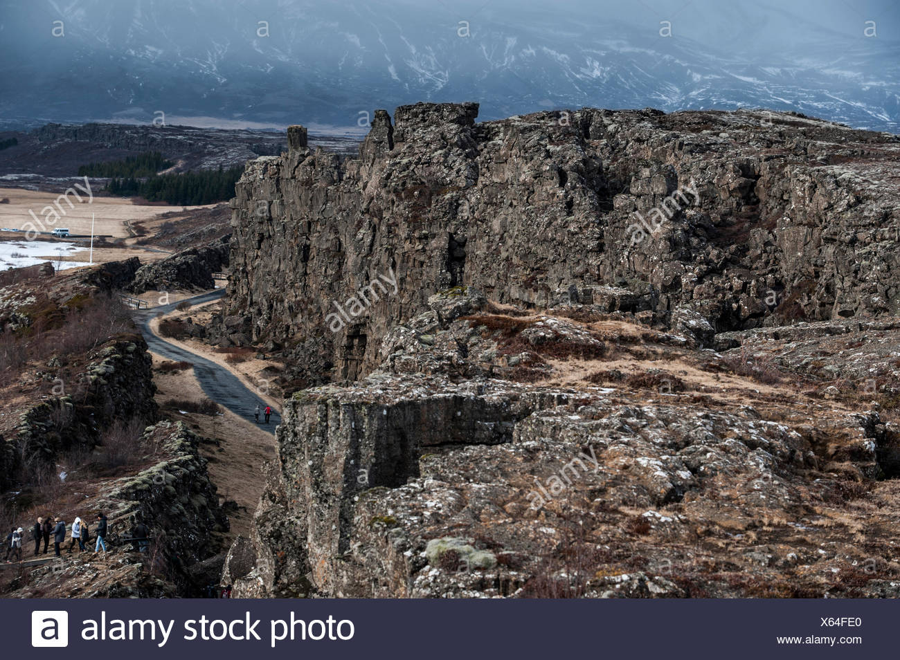 Visible faultline of the Eurasian and American tectonic plates, Thingvellir, Southern Region, Iceland - Stock Image