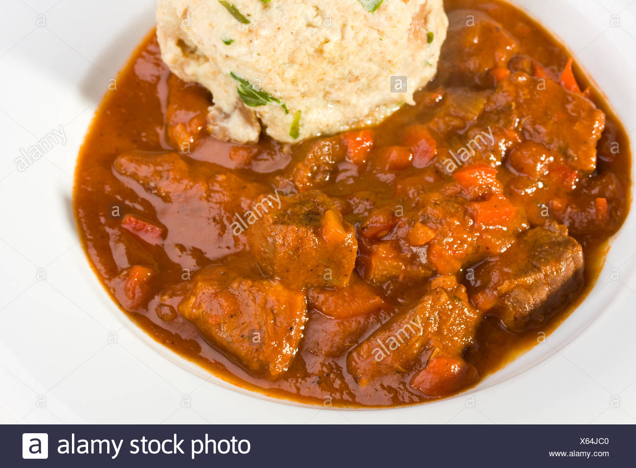 Hungarian Goulash And A Bread Dumpling Stock Photo Alamy