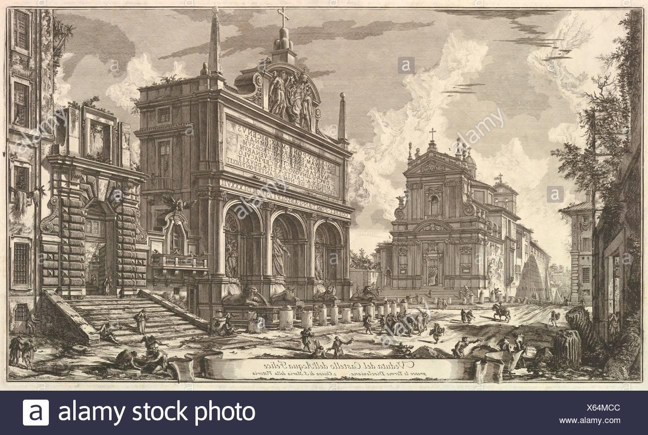 View of the Fountainhead of the Acqua Felice., from Vedute di Roma (Roman Views). Series/Portfolio: Vedute di Roma; Artist: Giovanni Battista - Stock Image