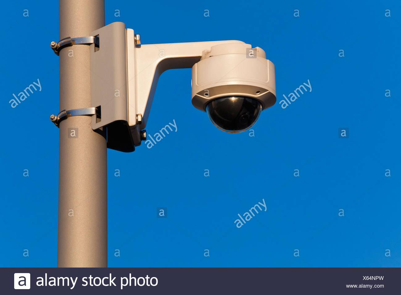 Germany, Baden Wuerttemberg, Stuttgart, Monitoring camera against sky, close up - Stock Image