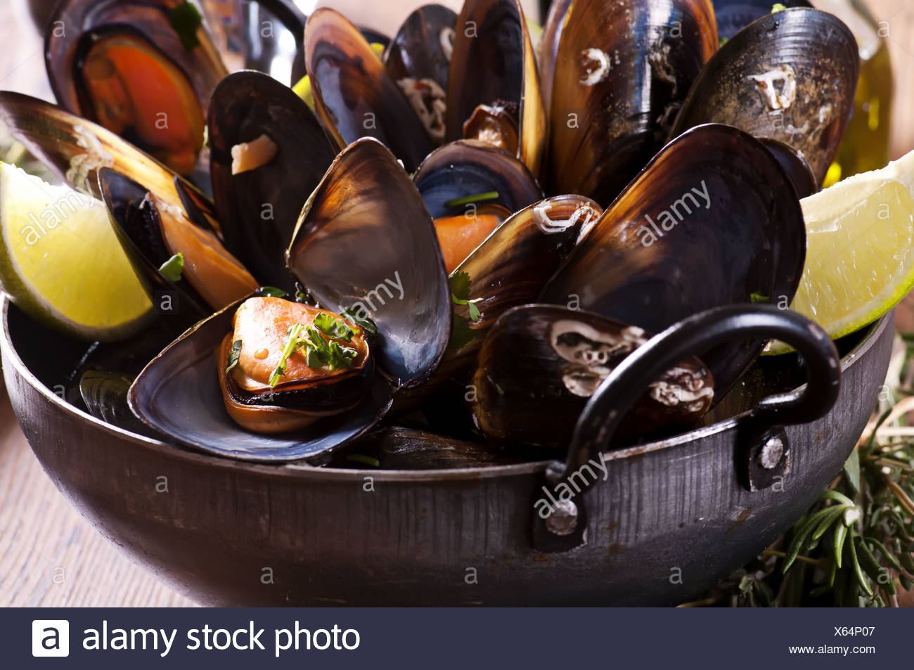 Mussels in White Wine as closeup in a Stewpot - Stock Image