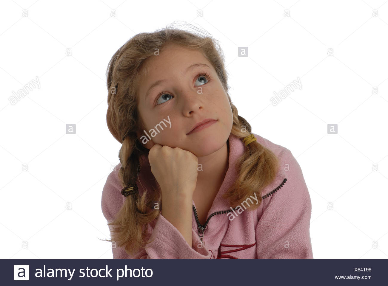 Girl, child, trains, concentration, consider, pay attention, listen, dreaming, dreamily, moony, distraction, diversion, - Stock Image