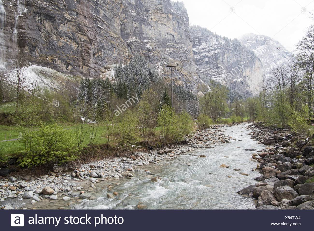 Landscape in Lauterbrunnen Junfrau region Berner Oberland Switzerland. Stock Photo