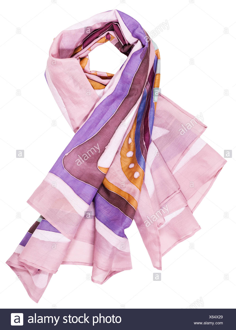 knotted shawl from pink painted silk batik - Stock Image