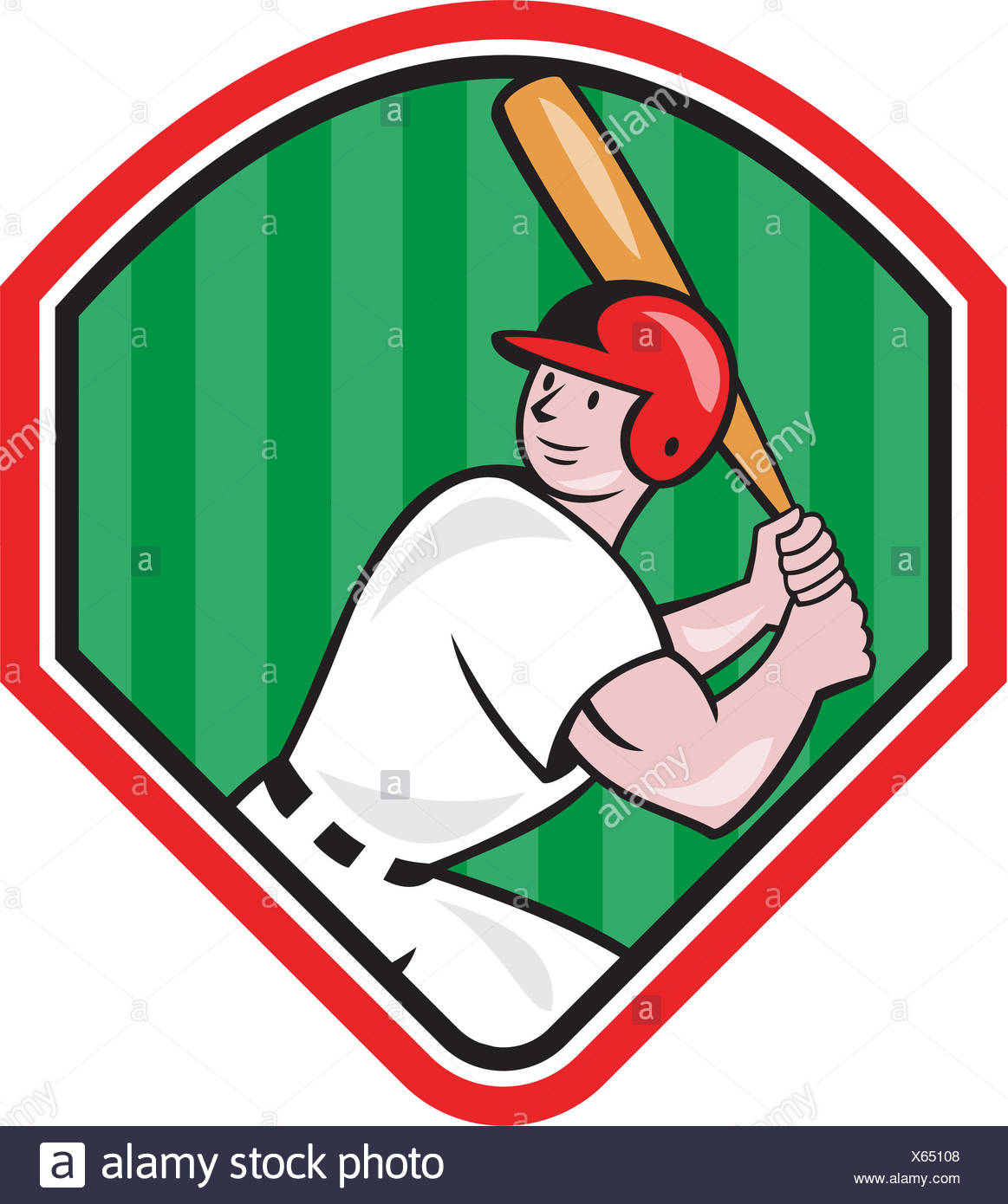 American Baseball Player Bat Diamond Cartoon Stock Photo Alamy