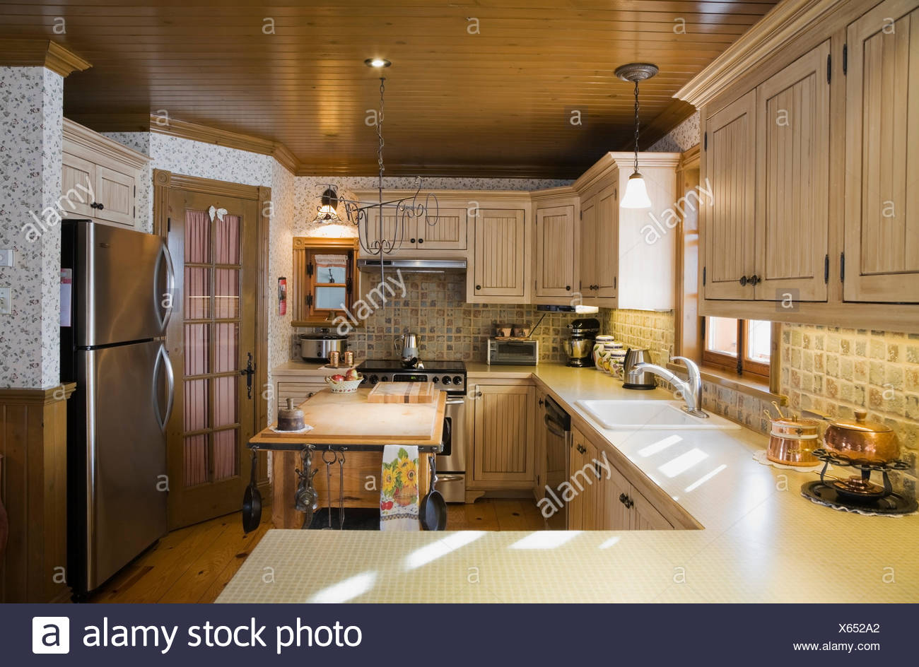 Country Style Kitchen Inside A Canadiana Cottage Style