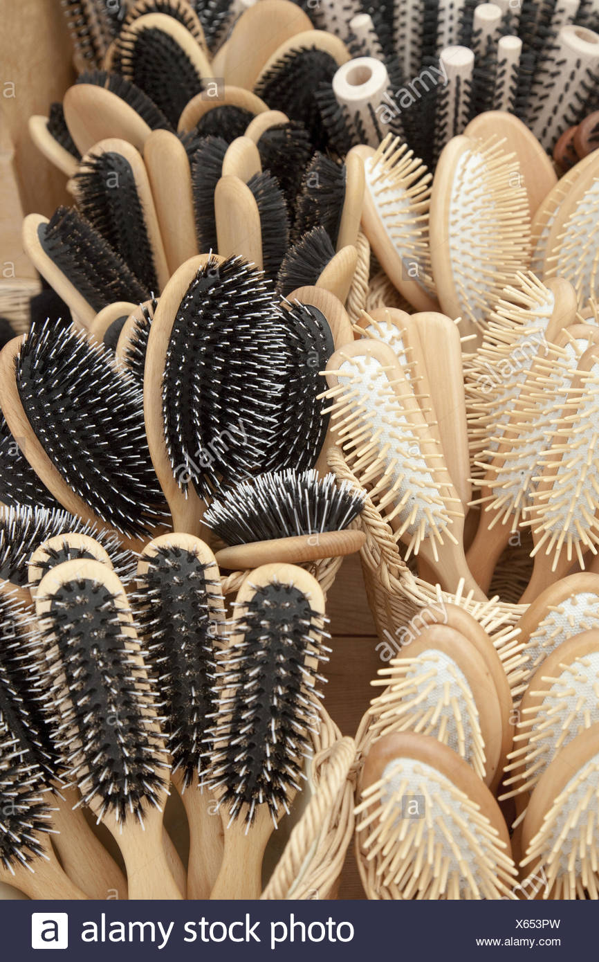 Brushes, passed away, comb hairbrush, care, hair care, naturalness, bristles, nature bristles, nature brushes, nature hair, brush, maintain, biology, Ecologically, Organically, wooden, wooden brushes, amount, many, - Stock Image