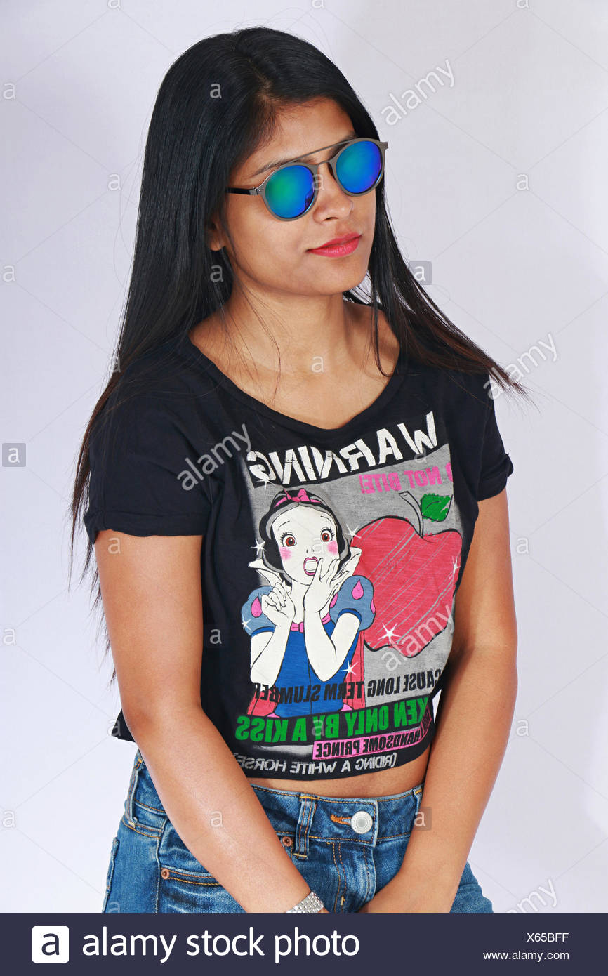 Young girl in short jean pants and goggles posing Stock Photo