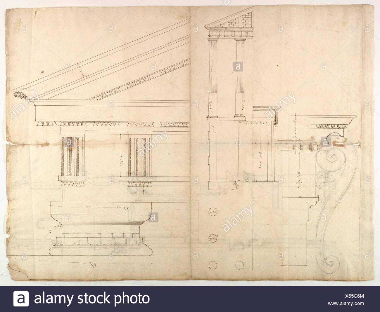 Temple of Hercules, Cori, plan, elevation; portal, details; Doric order, details (recto) St. Peter´s, drum, section (verso). Draftsman: Drawn by Stock Photo
