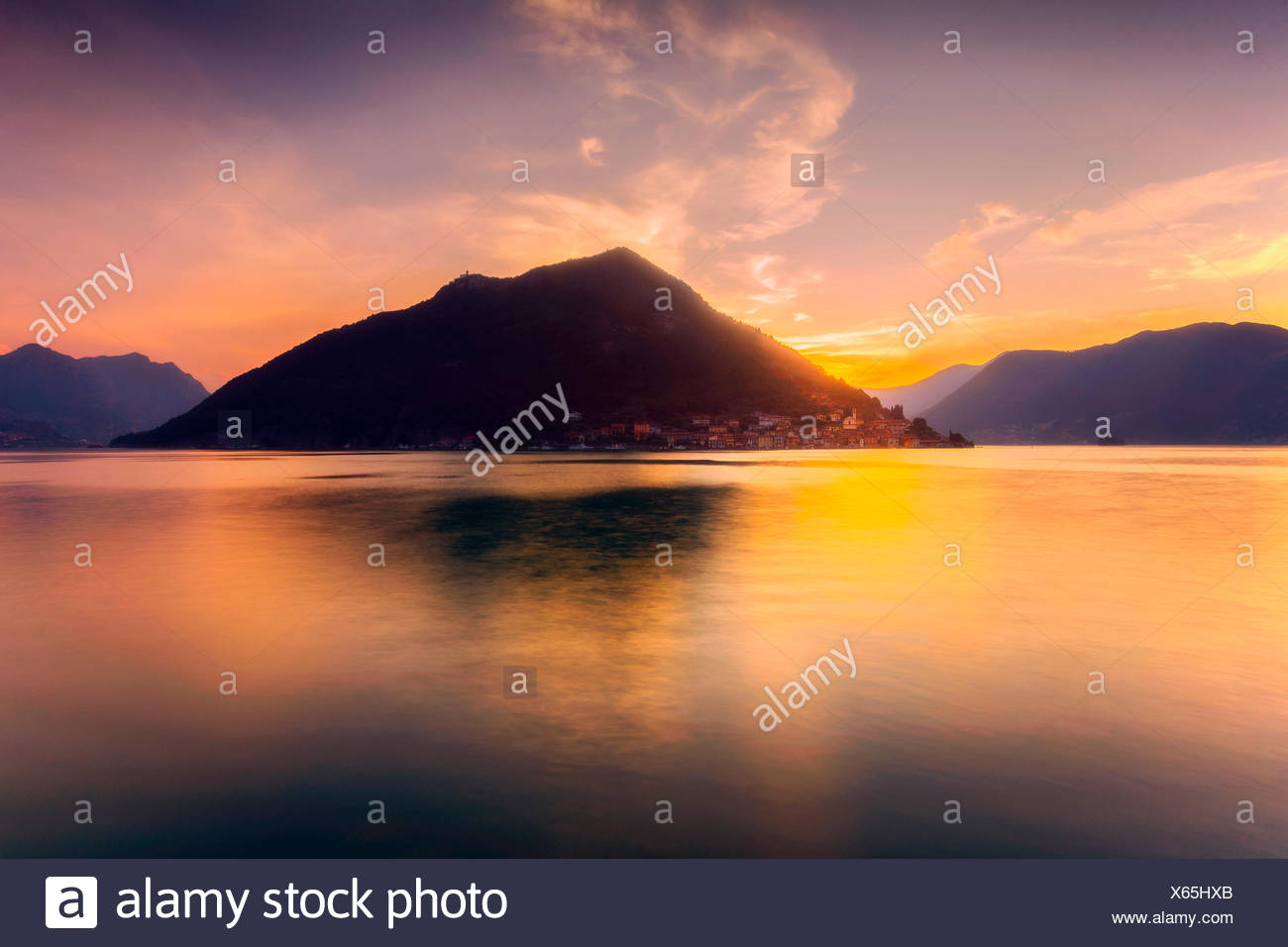 Monte Isola , Lake Iseo , province of Brescia , Italy - Stock Image