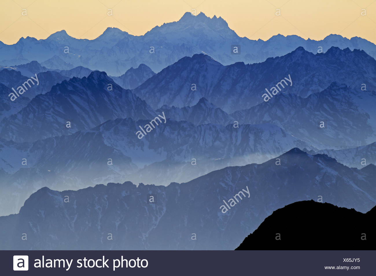 Switzerland, Appenzell, Appenzeller country, alp stone massif, Säntis, view into the direction of east, flight horn (completely behind), Piz Faschalba, - Stock Image